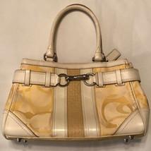 Coach Monogram Womens Satchel Handbag Yellow Dual Handle Metal Canvas Le... - £23.94 GBP