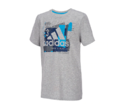 Adidas Boys Grey Heather Collage Mantra Graphic T Shirt AA6370 New Size 4  - $14.84