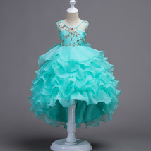Mint Green Pricess Flower Girl Dress Skirts Tiers Formal Party Gowns Short 2018 image 1
