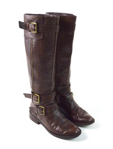 ENZO ANGIOLINI Brown Leather Belted Belt Strapped Knee High Riding Boots 6.5 M - $29.69