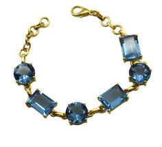 gorgeous Blue Topaz CZ Gold Plated Blue Bracelet genuine wholesale US gift - $18.80