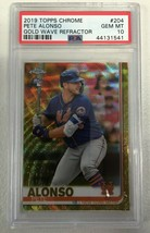2019 Topps Chrome #204 Pete Alonso RC Gold Wave Refractor 47/50 PSA 10 Gem Mint - $1,188.00