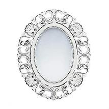 Accent Plus Mirrors For Wall Decor, Framed Oval Rustic Unique Off White Etched W - $46.99