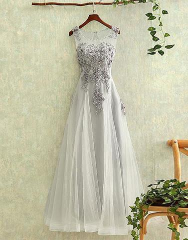 Gray tulle round neck lace long prom dresses, evening dresses,PD0812