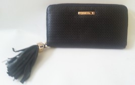 Stella & Dot Mercer Zip Wallet Black Basket Wea... - $41.75