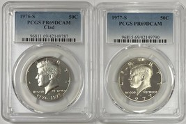 1976 S & 1977 S Kennedy Clad Half Dollar 50c PCGS PR69DCAM - 2 Coin Set  - $32.50