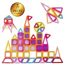 77 Pcs Kids Magnetic Tiles Building Blocks Playboards - $64.40