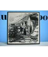Núpsstaður turf houses printed tile - Iceland souvenir May 1973 - $14.40