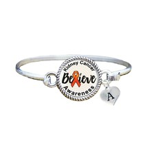 Custom Kidney Cancer Awareness Believe Silver Bracelet Jewelry Choose In... - $13.80+