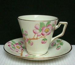Vintage PINK FLORAL Delphine TEA CUP & SAUCER #1825 China England Handpa... - $12.36