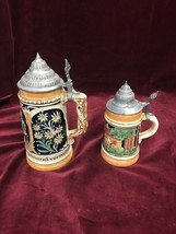 Vintage German LIDDED Beer Stein BEER Mugs  2 pieces marked Ehren kana - $37.12