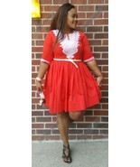 Odeneho Wear Red Polished Cotton Dress/White Embroidery Design.African C... - $84.15+