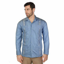 Men's Beach Guayabera Casual Cuban Wedding Button-Up Long Sleeve Dress Shirt image 6