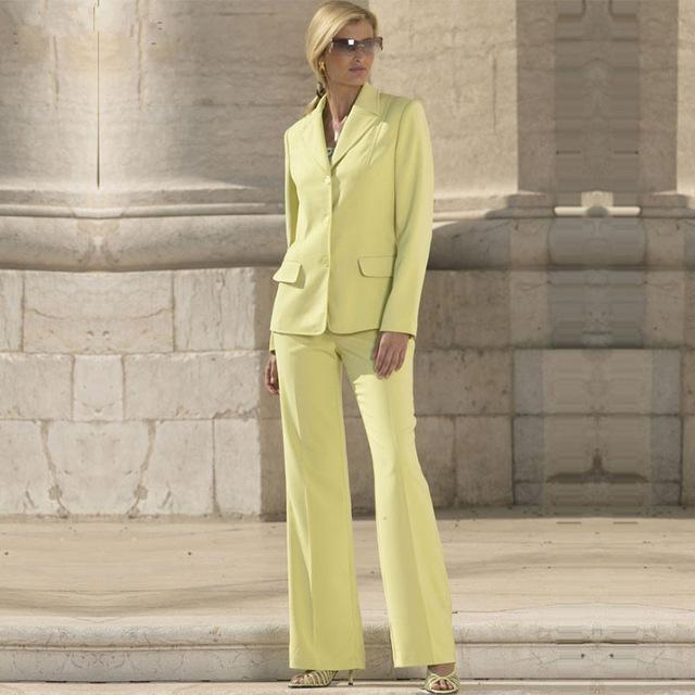 Fashion yellow women s 2 pieces slim fit formal suits women custom made office work wear