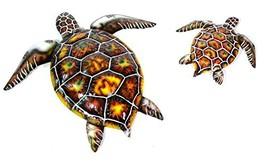 SET OF 2 BEAUTIFUL UNIQUE SEA OCEAN TURTLE METAL TROPICAL loggerhead ISL... - $29.64