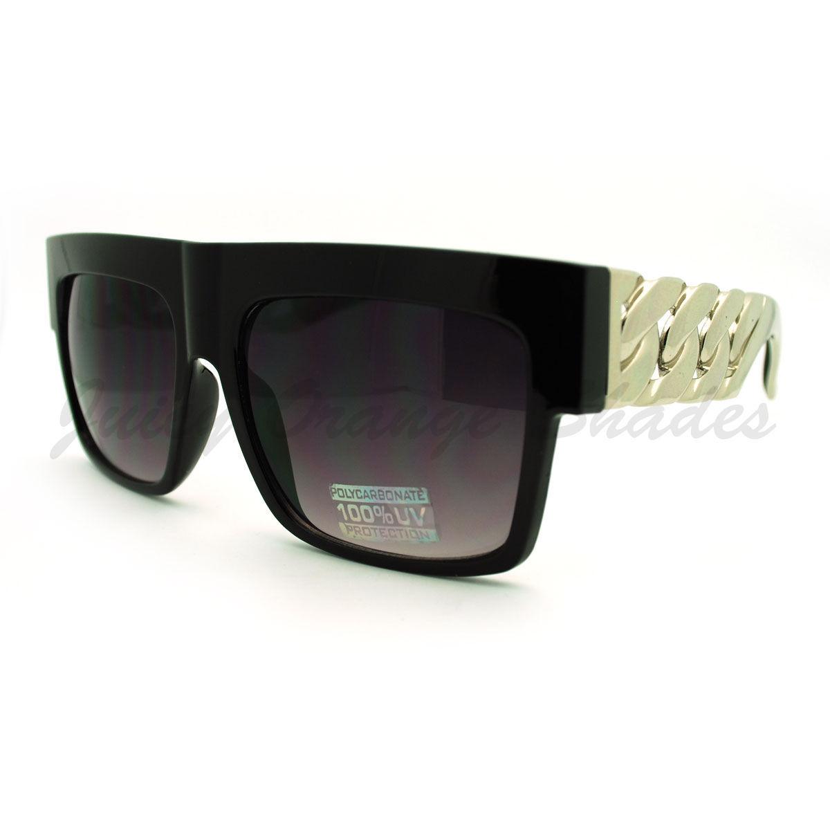 Designer Fashion Sunglasses Bold Flat Top Thick Gold Chain Frame
