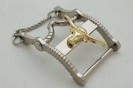 Herren Freizeit Western Cowboy Gürtelschnalle Silber Metall Lang Horn Kuh Gold image 3