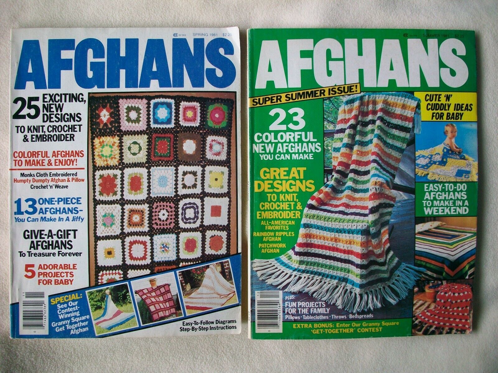 Crochet Knit Pattern Lot 15 Afghans Pillows VTG 60s-90s Books Leaflets Magazines