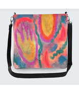 Funky Abstract Art Large Cross Body Hipster Shoulder Bag Handbag Purse - $65.00