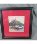 Signed Framed Watercolor Palma (Spain), Fishing Boat in Front of Cathedr... - $16.69