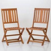 Armless Folding Chair Set of 2 Eucalyptus Patio Furniture Dining Collec... - $169.95
