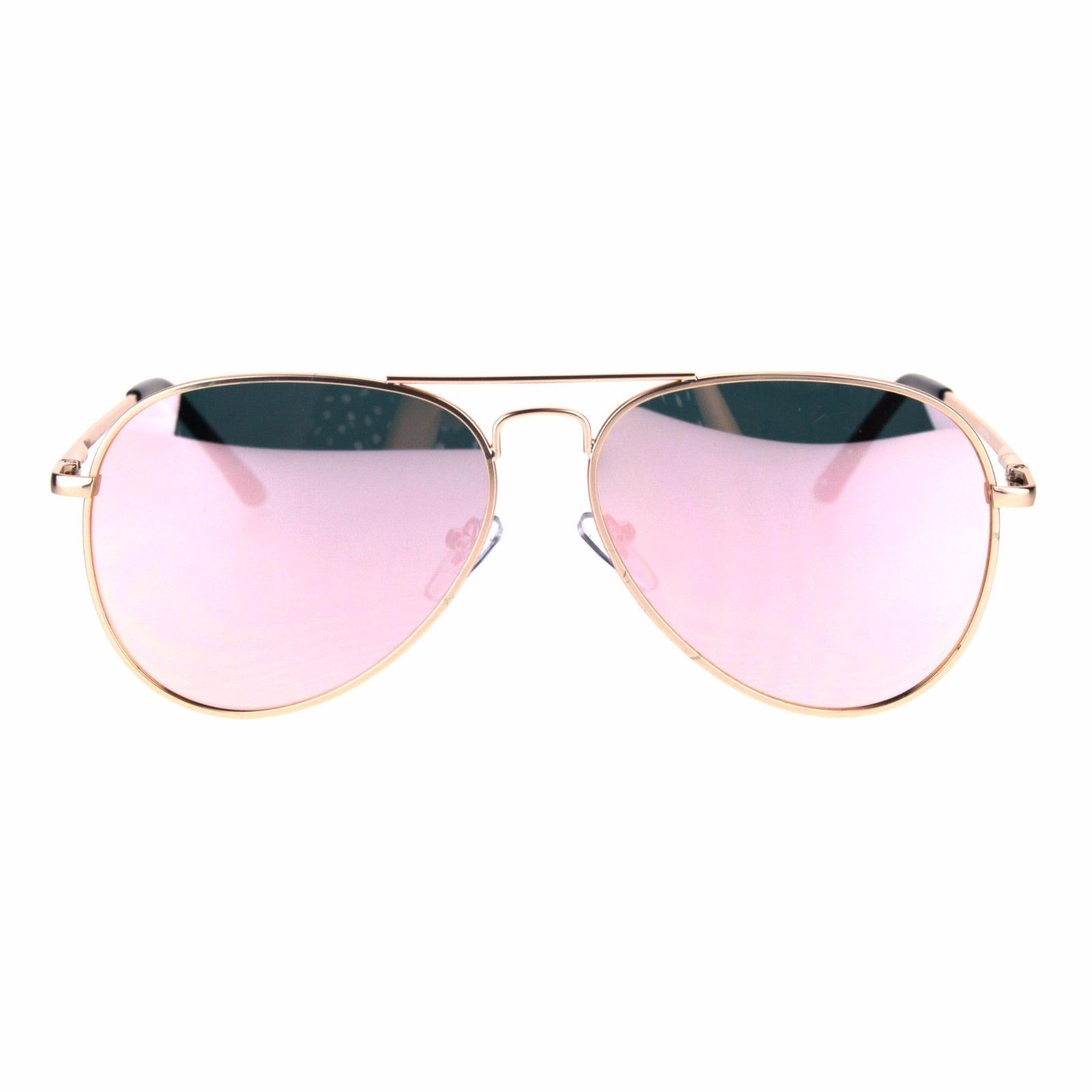 Womens Aviator Sunglasses Gold Metal Frame Pink Mirrored Lens UV400 Spring Hinge