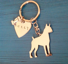 New Design German Boxer Custom Keychain Chopped Ears. Dog Breed Jewelry.  Memori - $18.00