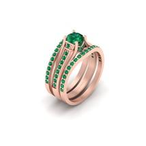 3Pc Bridal Wedding Ring Set 1.05cttw Green Emerald Matching Engagement Ring Set  - $209.99