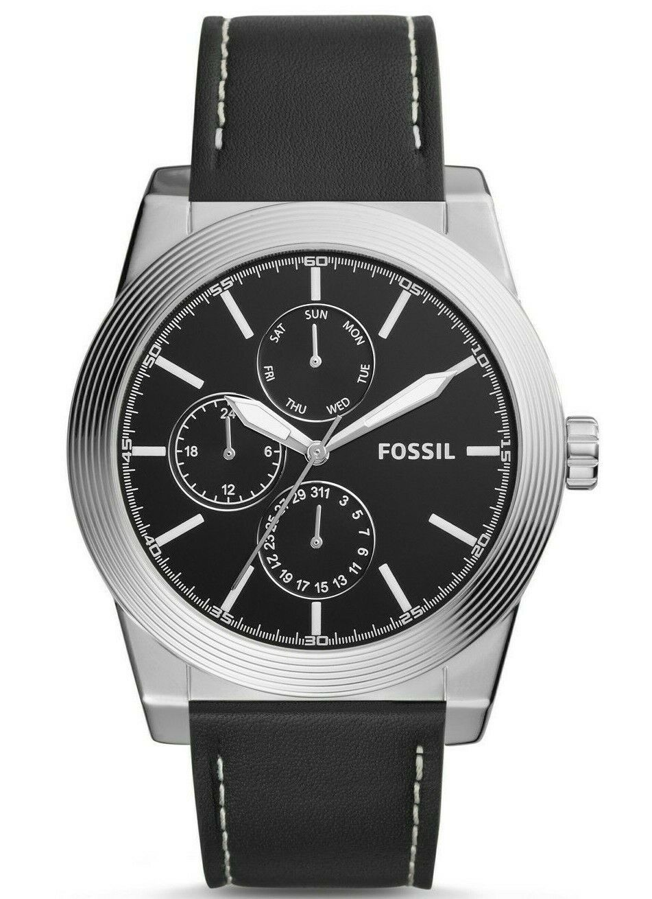Primary image for FOSSIL Geoff Multifunction Black Leather Watch 46mm Watch BQ2334 Men's