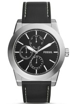 FOSSIL Geoff Multifunction Black Leather Watch 46mm Watch BQ2334 Men's - $69.99