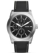 FOSSIL Geoff Multifunction Black Leather Watch 46mm Watch BQ2334 Men's - $69.99