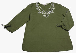 Jm Collection Size 12 Olive Green Embroidered Linen Peasant Top 3/4 Sleeves Boho - $15.14