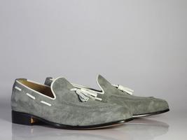 Handmade Men's Grey Suede Slip Ons Loafer White Tassel Shoes image 4