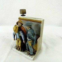 "Vintage Western Last Chance Cologne Bookend 5.5"" Japan Empty Bar Scene 3... - $29.69"