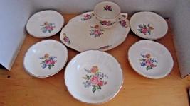 Vintage Homer Laughlin Platter Cup 4 Small Bowls 1 Larger Bowl-Rose & Fl... - $19.99