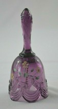 Fenton Glass Purple Drapery & Bow Floral Petite Bell Signed K Bright - $14.85