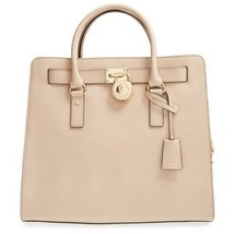 MICHAEL KORS HAMILTON LARGE ECRU GOLD SAFFIANO LEATHER TOTE BAG PURSE $3... - $248.00