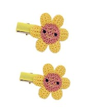 2 Pairs Of Lovely Yellow Sunflower Wool Handmade Hair Accessories Hairpin