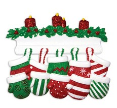 Red & Green Mitten Family 10 11 12 Personalized Christmas Ornament Kit - $19.95