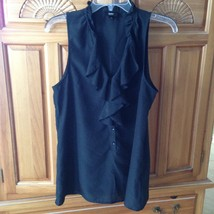 women's black ruffle neckline sleeveless top by mossio size medium - $19.99