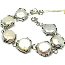 925 SILVER BRACELET, PEARLS BAROQUE STYLE DISC, FLAT, DIAMETER 15 MM - $309.50