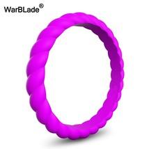 Fashion 3mm Thin Braided Silicone Ring For Women Wedding Rings Sports Hy... - $11.67