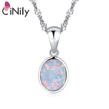 2019 Minimalist Silver Plated Fire Opal Pendant White Blue Oval Stone Ge... - $13.95