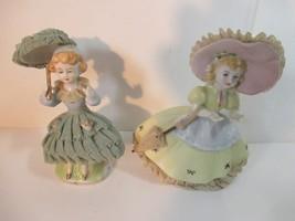 Vintage Japan Sombrilla Encaje Cerámica Porcelana Niña Figuritas - $18.85