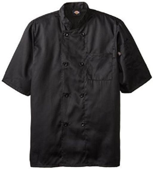 Dickies Chef Jacket XL DCP124 BLK Plastic Button SS Black Uniform Coat New
