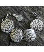 Silver link bracelet, antique silver bracelet, tribal wide bracelet, Boh... - $32.00