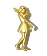 """Vintage JJ Jonette Lady Golfer Pin 2.25"""" Gold Tone Woman Golf Club - $7.70"""