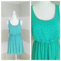 Lush Women's Aqua with Orange Dots Elastic Waist Dress Size M Lined Slee... - $20.76