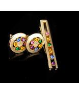 Vintage Wedding cufflinks / rhinestone tie clip / Anson karatclad jewelr... - $155.00