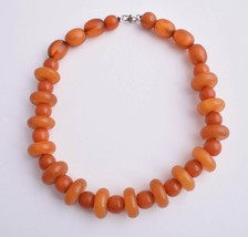 Vintage African Bakelite Amber Trade Beads-Simulated Amber Strand Necklace - $116.53